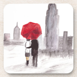 New York love couple with red umbrella Coaster