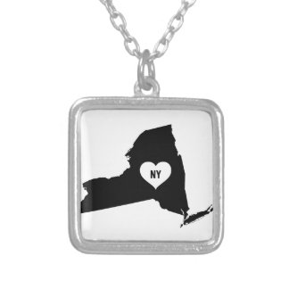 New York Love Silver Plated Necklace
