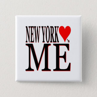 New York Loves Me 2 Inch Square Button