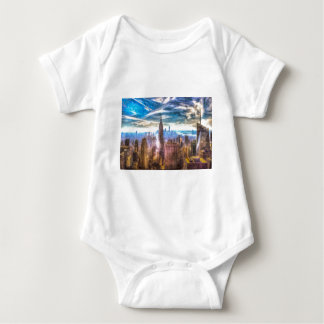 New York Manhattan Skyline Art Baby Bodysuit