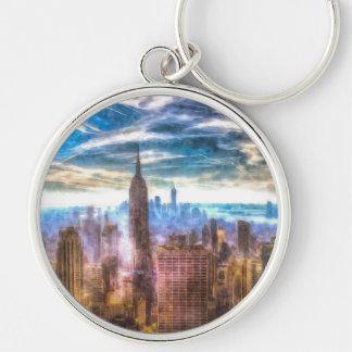 New York Manhattan Skyline Art Keychain