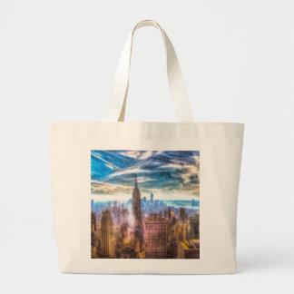 New York Manhattan Skyline Art Large Tote Bag