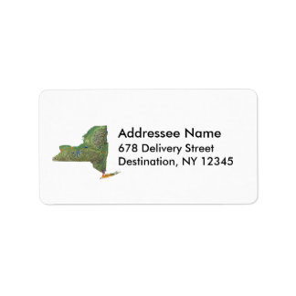 New York Map Address Label