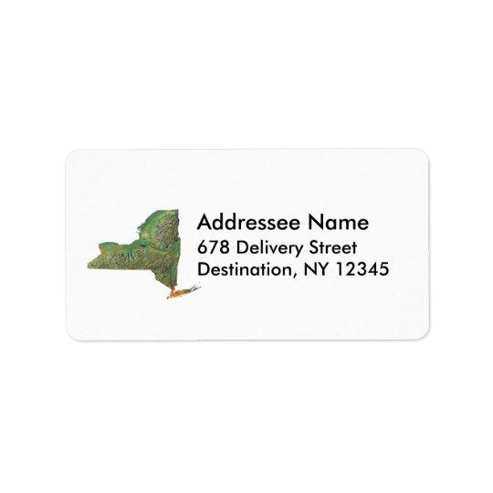 New York Map Address Label