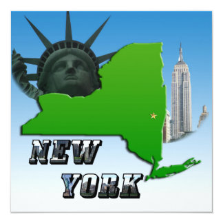 """New York Map, Statue of Liberty, Monument 5.25"""" Square Invitation Card"""