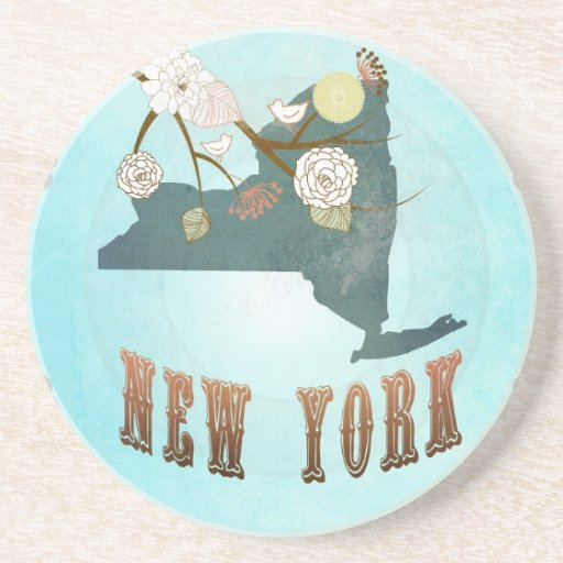 New York Map With Lovely Birds Coasters