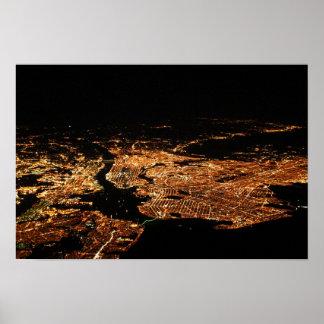 New York Metro Aerial Night Poster