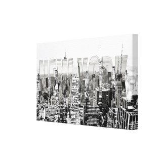 New York, New York (black & white panorama) Canvas Print