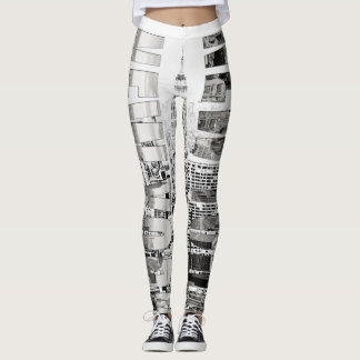 New York, New York (black & white panorama) Leggings