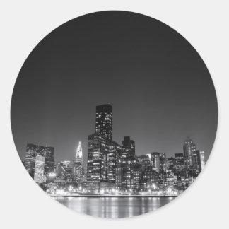 New York Night Skyline Classic Round Sticker
