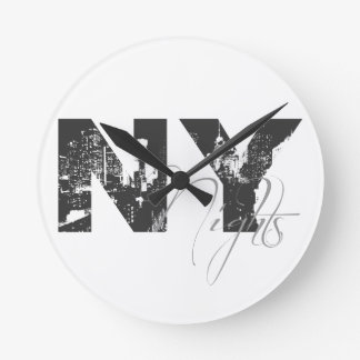 New York Nights Round Clock