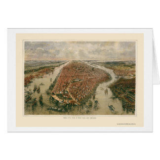 New York, NY Panoramic Map - 1865 Card