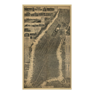 New York, NY Panoramic Map - 1879 Poster