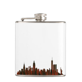 NEW YORK, NY SKYLINE RUST - FLASK