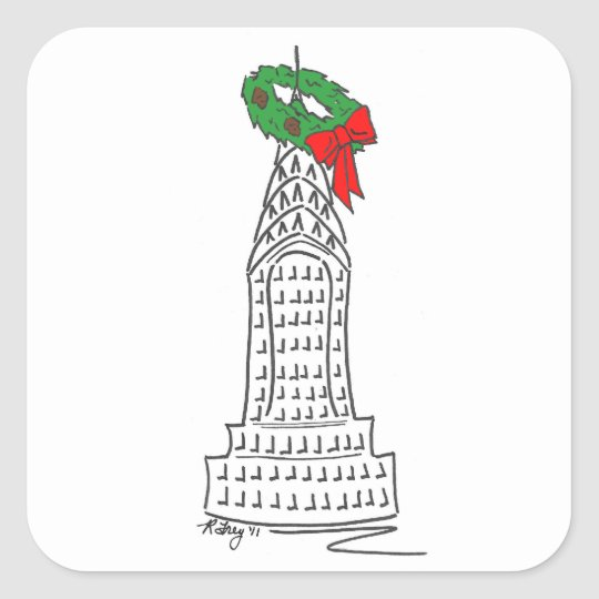 New York NYC Christmas Sticker Chrysler Building