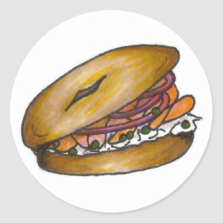 New York NYC Plain Bagel Cream Cheese Capers Lox Classic Round Sticker