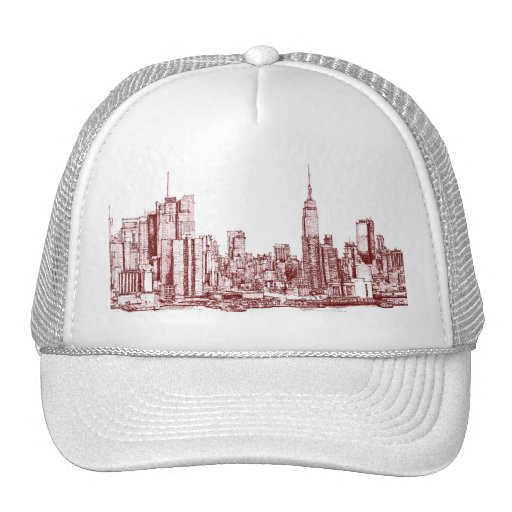 New York NYC red Mesh Hats