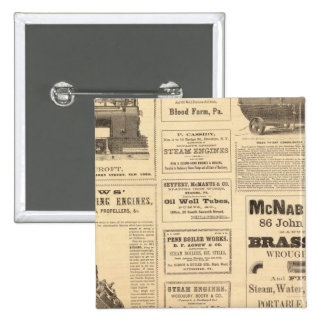 New York Oil Advertisements 2 Inch Square Button