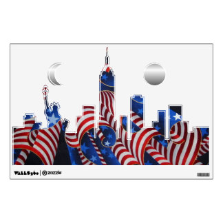 New York Patriotic Skyline Wall Decal