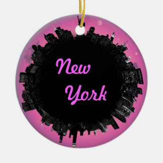 New York pink skyline Ceramic Ornament