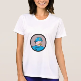 New York Policeman Vintage Circle Cartoon T-Shirt