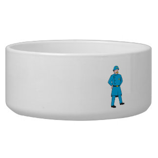 New York Policeman Vintage Standing Cartoon Dog Bowls
