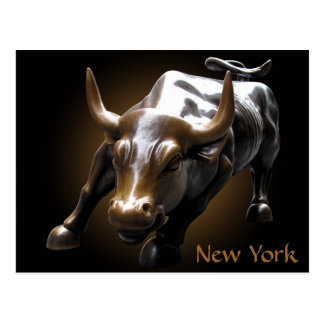 New York Postcard Bull Statue NYC Souvenir Card