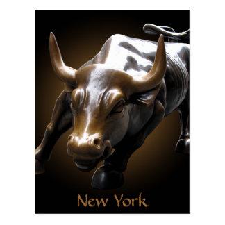 New York Postcard Bull Statue NYC Souvenir Card