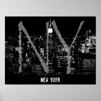 New York Poster Cityscape New York Night Print