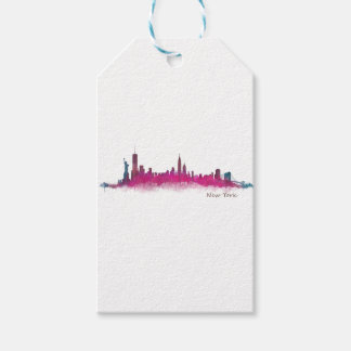 New York Purple Skyline Gift Tags