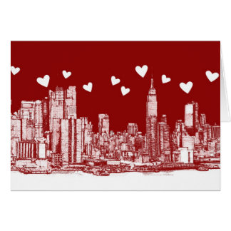 New York red hearts Card