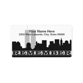 New York Remember 911 Address Label