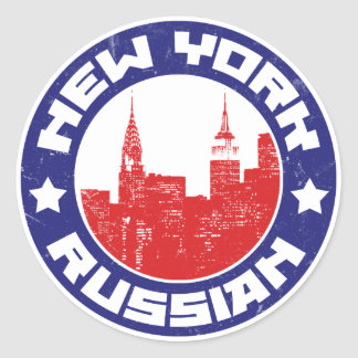 New York Russian American Round Sticker