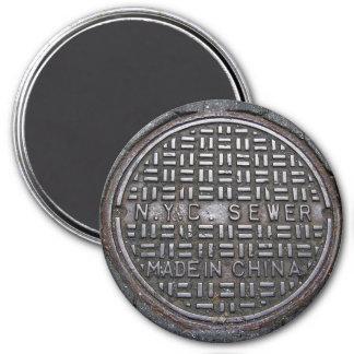 New York Sewer Cover & Asphalt Pavement Photo Magnet