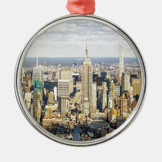 New York Silver-Colored Round Ornament