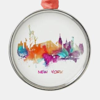 New York Silver-Colored Round Ornament