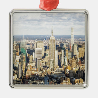 New York Silver-Colored Square Ornament