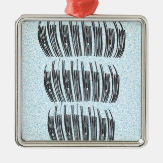 New York Silver-Colored Square Ornament