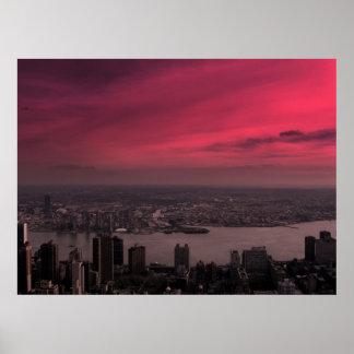 New York Skyline Alight Poster