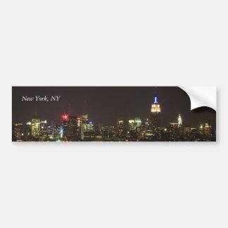 New York Skyline at Night Bumper Sticker