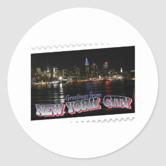 New York Skyline at Night Empire State Round Sticker