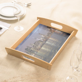 New York skyline at night Serving Tray