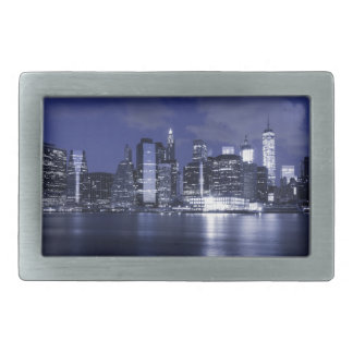 New York Skyline Bathed in Blue Belt Buckle