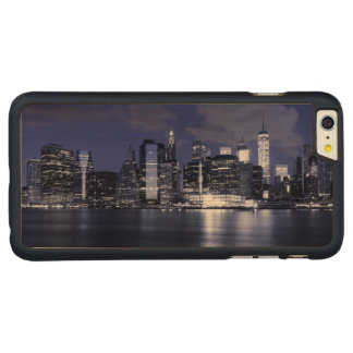 New York Skyline Bathed in Blue Carved Maple iPhone 6 Plus Case