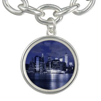 New York Skyline Bathed in Blue Charm Bracelets