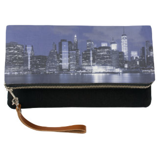 New York Skyline Bathed in Blue Clutch