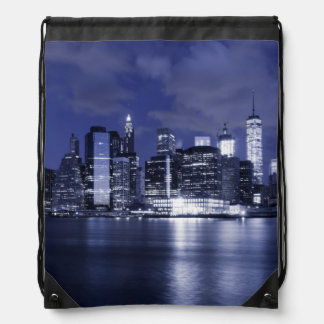 New York Skyline Bathed in Blue Drawstring Bag