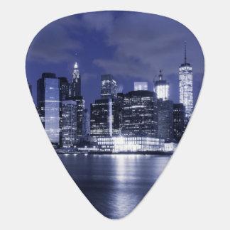 New York Skyline Bathed in Blue Guitar Pick