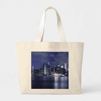 New York Skyline Bathed in Blue Large Tote Bag
