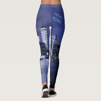 New York Skyline Bathed in Blue Leggings